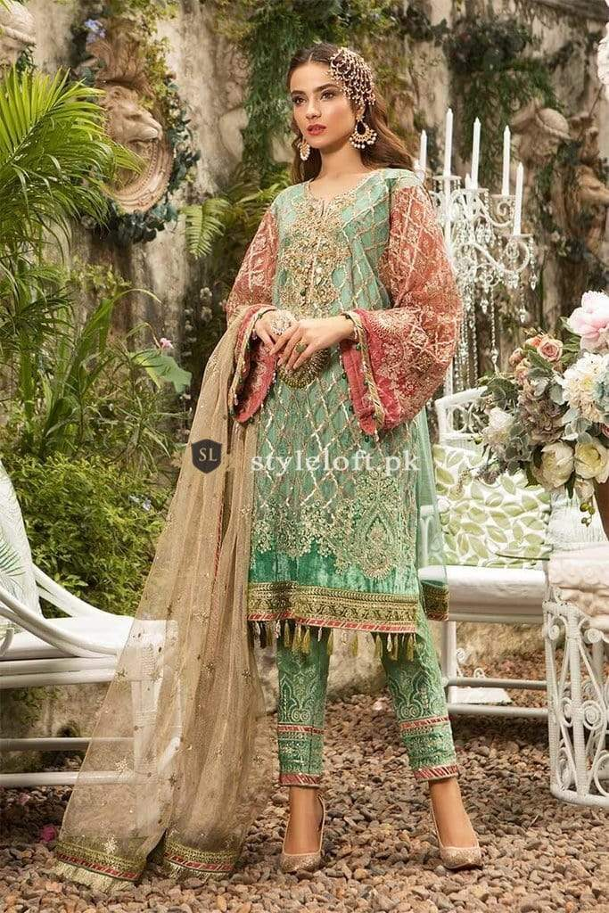 60088eafee8 PK Maria B Embroidered Unstitched 3 Piece Suit MB19E 1608 - Eid Collection