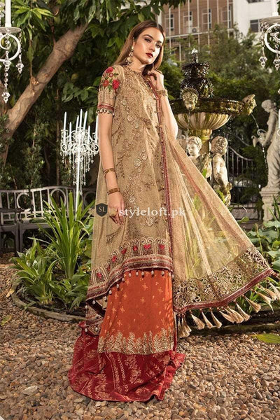 STYLE LOFT.PK Maria B Embroidered Zari Net Unstitched 3 Piece Suit MB19E 1606 - Luxury Chiffon Eid Collection