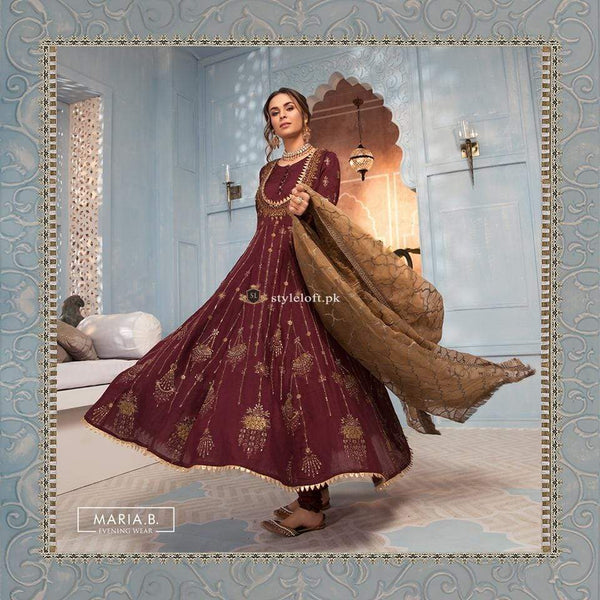 STYLE LOFT.PK Maria B Evening Wear Bridal Chiffon Collection 2019 - Maroon