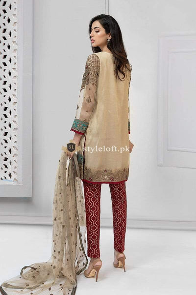 STYLE LOFT.PK Maria B Evening Wear Bridal Collection 3Pc Suit Beige SF-1913 Maysori