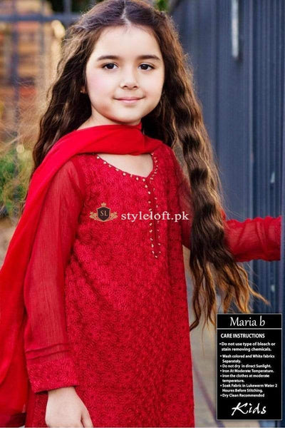 STYLE LOFT.PK Maria B Kids Wear Lawn Chikenkari Embroidered Two Piece D-194
