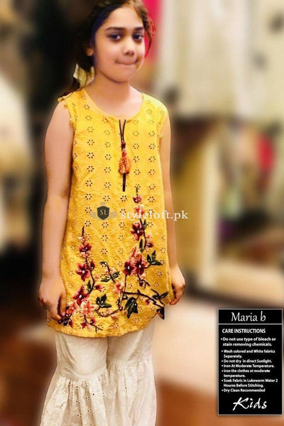STYLE LOFT.PK Maria B Kids Wear Lawn Chikenkari Embroidered Two Piece D-196