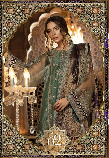 Maria.B MBROIDERED Eid Collection  Vol-2 Unstitched 3Piece Suit BD-01