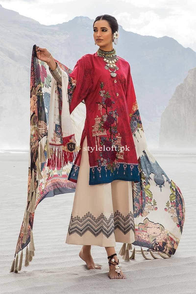 STYLE LOFT.PK Maria B MPrints Embroidered Linen Unstitched 3 Piece Suit MBP19K-9B