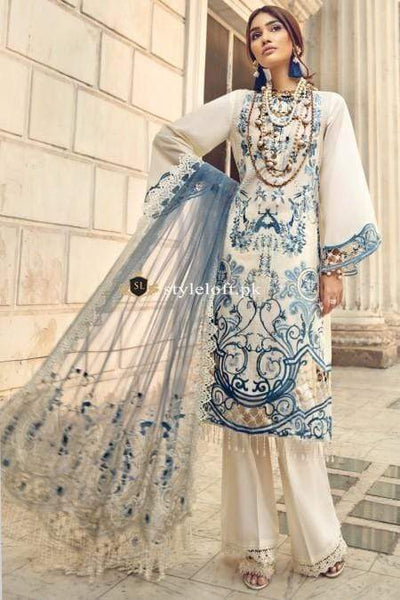 STYLE LOFT.PK Mausummery Spring/ Summer Embroidered Lawn 2019 Opal-Cloud