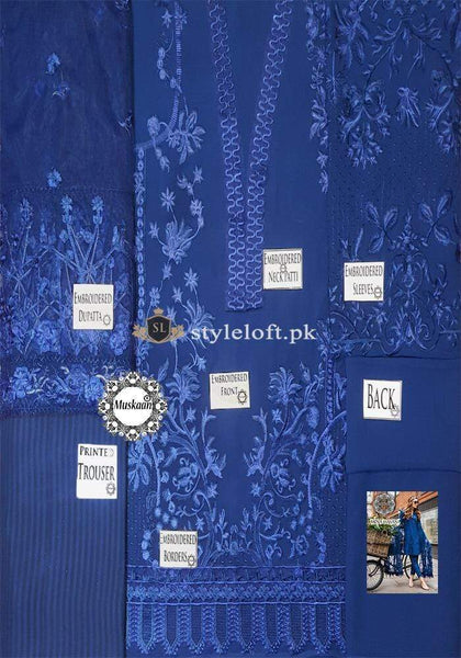 STYLE LOFT.PK Mina Hasan Embroidered Chiffon Unstitched 3 Piece Suit MH19F 9B - Festive Collection