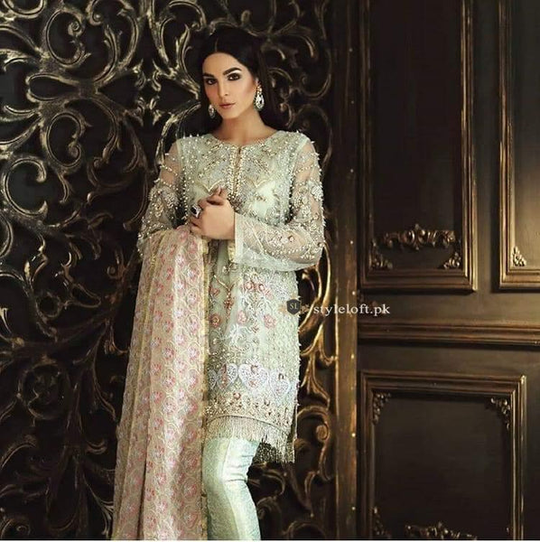 STYLE LOFT.PK Mina Hassan Net Embroidered 3Pc Suit with Chiffon Embroidered Dupatta