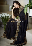 Myntra Indian Designer Embroidered Chiffon Saree-Black