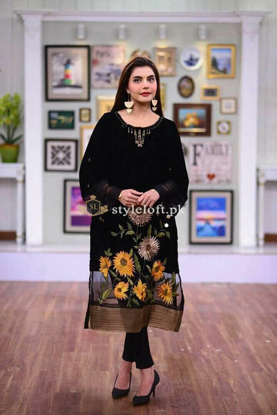Nida Yasir Spotted Lawn Embroidered 2Pc Suit - Black