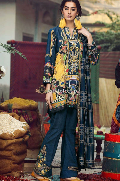 RajBari Embroidered Premium Lawn Unstitched 3Pc Suit RB-19