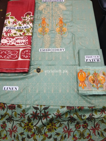 RajBari Winter Linen, Wool Shawl 3Piece RR-6B