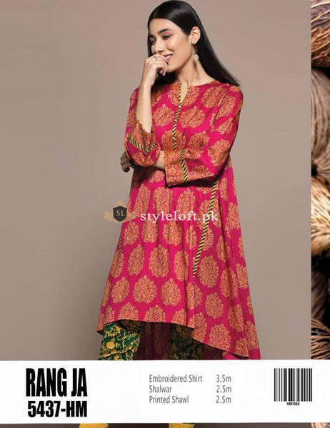 STYLE LOFT.PK Rang Ja Festive Collection Unstitched Lawn 2Pc Suit RJ-1901