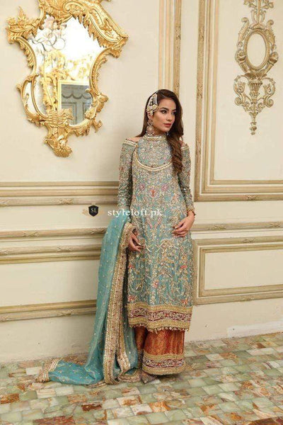 STYLE LOFT.PK Republic Womens Wear Bridal & Formal Wear Unstitched 3PC Suit Mint-Green