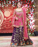 STYLE LOFT.PK Sahista Lodhi Spotted - Pink and Dark Purple Color Linen 2Piece Suit