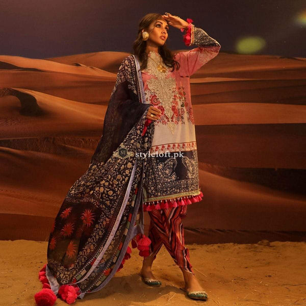STYLE LOFT.PK Sana Safinaz Embroidered Linen Unstitched 3 Piece Suit H191-007A