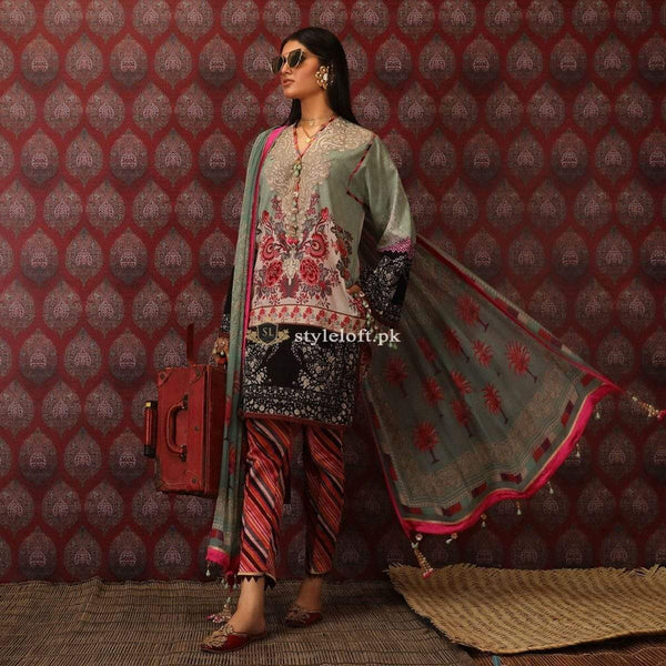 STYLE LOFT.PK Sana Safinaz Embroidered Linen Unstitched 3 Piece Suit H191-007B
