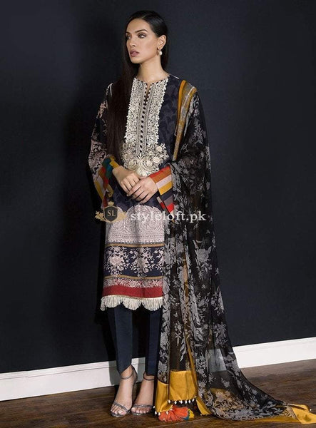 eb30e4e991 Sana Safinaz Lawn Collection 2019 3Pc Embroidered SS-7A | 1750.00 ...