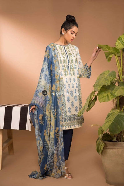 STYLE LOFT.PK Sapphire Lawn Collection 2019 3Pc Suit with Chiffon Dupatta Orchid-A