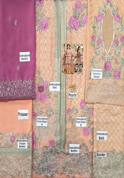 Serene Embroidered Chiffon Collection Unstitched 3 Piece Suit SEI19PC 07 Mauve Vista - Premium Collection