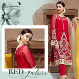 Serene Embroidered Chiffon Red Glamour-SR18