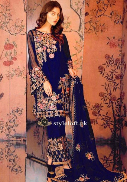 Serene Premium Embroidered 3Piece Navy-BD-24