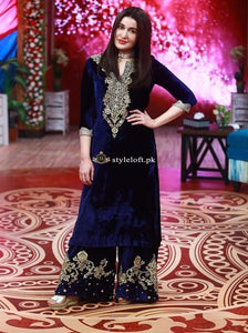 Shaista Lodhi Spotted Velvet Embroidered 3Piece Dress SL-11-BD