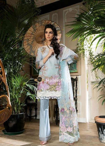 Sobia Nazir Embroidered Swiss Lawn Unstitched 3 Piece Suit SN18L 4B - Spring / Summer Collection
