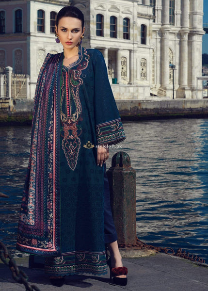 STYLE LOFT.PK Tena Durrani Embroidered Lawn Unstitched 3 Piece Suit TD19L 4A DINA BLUE - Spring / Summer Collection