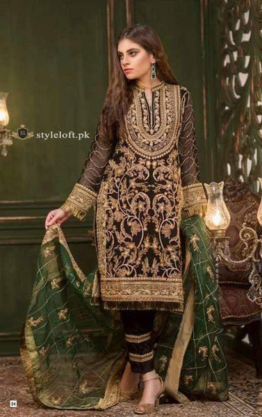 STYLE LOFT.PK Umyas Chantilly Premium Chiffon Volume I 2019  Unstitched 3Pc Suit Jewel Black - D5