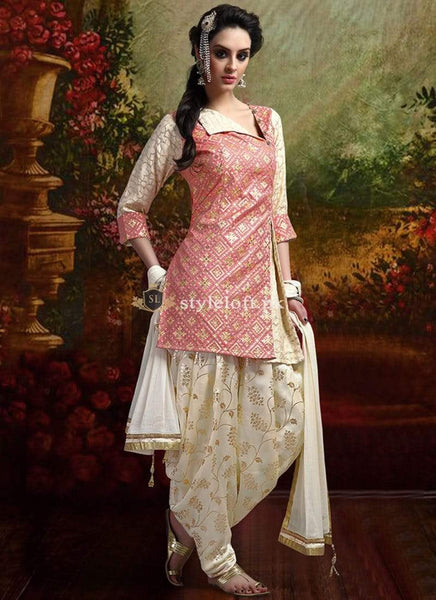 STYLE LOFT.PK Voluptuous Banarasi Style Patiala Unstitch 2Piece Suit - Peach