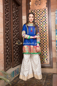 Zahra Ahmed Linen Embroidered 2Piece-Blue