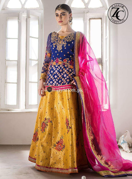 Zainab Chottani 3Piece Linen Embroidered Dress ZC-18W1