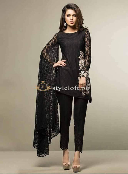 STYLE LOFT.PK Zainab Chottani Casual Pret Collection Lawn Unstitched 3 Piece Suit BEGUILED BY BLACK