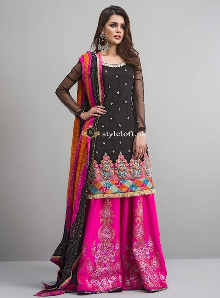 Zainab Chottani Winter Linen 3Piece ZC-18-Rose-Black