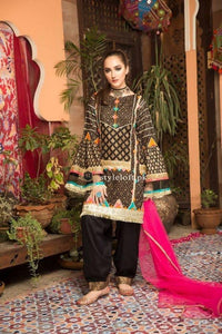 STYLE LOFT.PK Zara Ahmad Embroidered Lawn Unstitched 3Pc Suit - 1603 Black