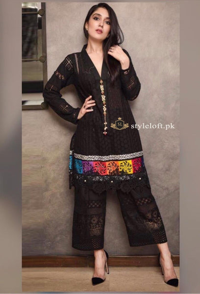 Zara Shahjahan Embroidered Lawn Unstitched 3 Piece Suit Black