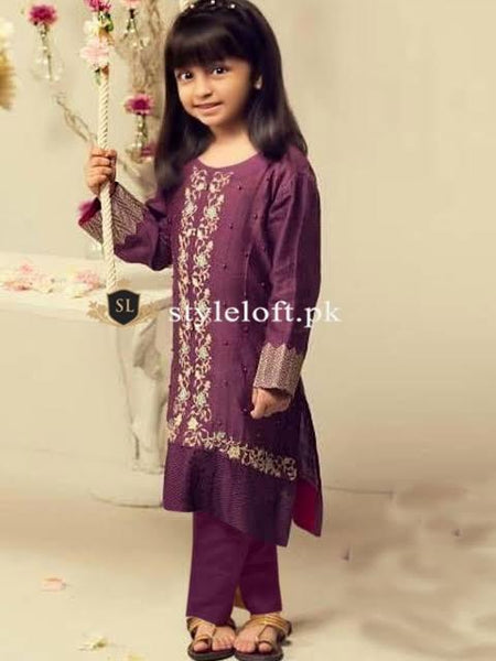 Styleloft.pk Maria B Kids Chicken Kari Unstitched 2Piece Lawn Dress KIDS