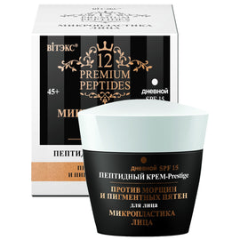 Face Microplastics Peptide Day Face Cream-Prestige against Wrinkles and Pigmentation SPF15 - Belita.store