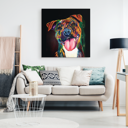 Happy Pitbull Canvas