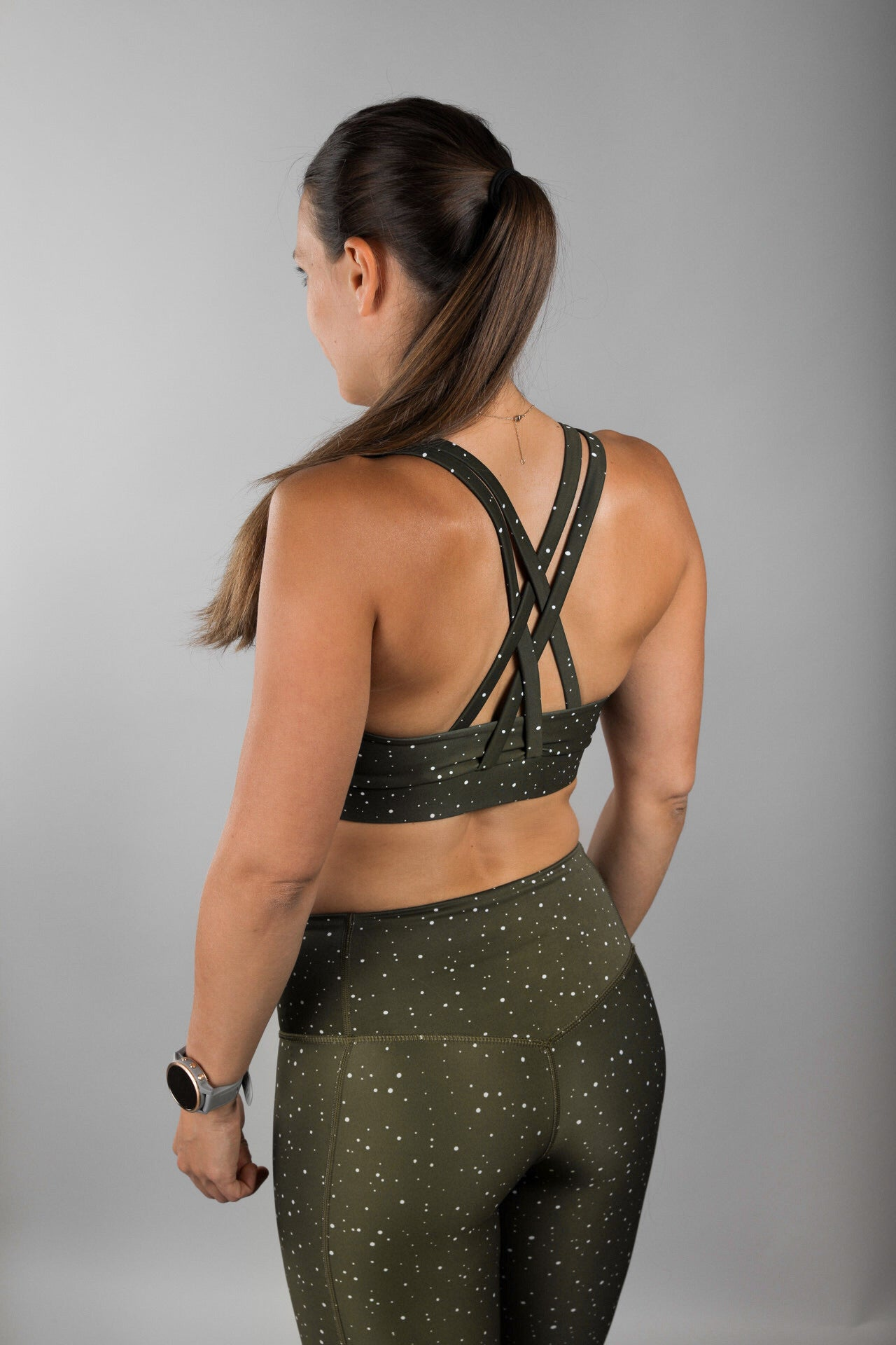 Moss Green Strappy Sports Bra