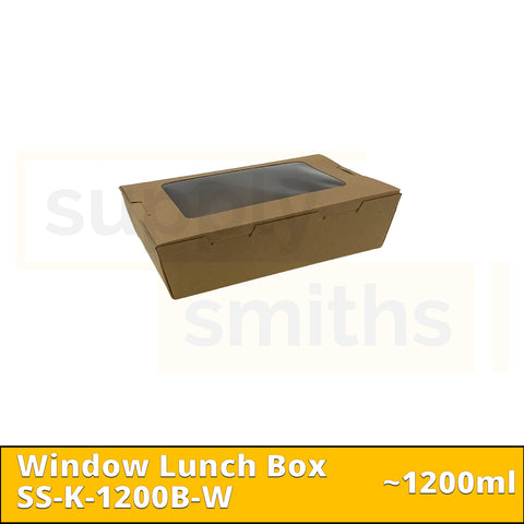 Kraft Window Lunch Box (1200ml) - 200 pcs/ctn