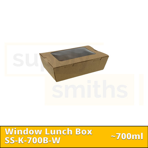 Kraft Window Lunch Box (700ml) - 200 pcs/ctn