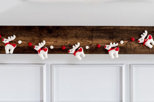Reindeer felt garland, nivas collection, white reindeer decor