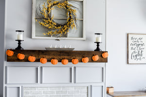 Fall Home decor, pumpkin garland on mantle, Nivas Collection, thanksgiving decoration