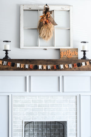Felt Flag Bunting. Nivas Collection, Fall Mantel Decor, Pumpkin colors