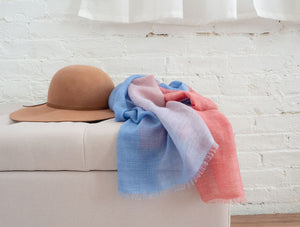 Cashmere + Cotton Scarf (Pink + Blue)