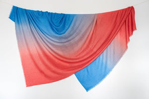 Red + Blue Travel Blanket/ Wrap/ Throw
