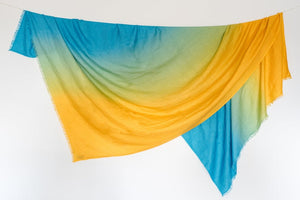 Yellow + Green Travel Blanket/ Wrap/ Throw