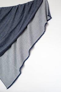 Navy and Grey Pure Cashmere Throw