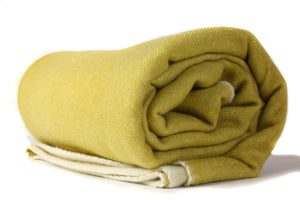 Reversible Cashmere + Wool Throw Blanket Mustard and White